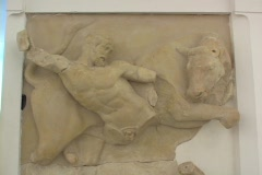 Marble relief sculpture depicting the Greek demi-god Herakles (Roman Hercules), Stock Footage