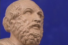 Marble bust of Homer, blind poet and author of the Iliad and Odyssey (replica) Stock Footage
