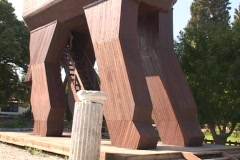 Tourist replica of the Trojan Horse at Troy (in modern day Turkey) Stock Footage