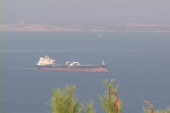 Cargo/Freighter ship in the dardanelles (Hellespont) in modern day Turkey (near Stock Footage