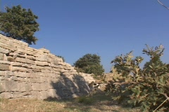 Troy VI walls at Troy (in modern day Turkey) Stock Footage