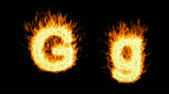 Loopable burning G character, capital and small - stock footage