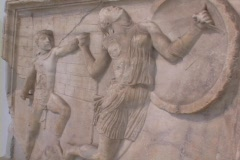 Marble relief sculpture (Roman) depicting Achilles battling an Amazon warrior Stock Footage