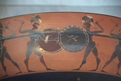 Black figure kylix depicts warriors in hand-to-hand combat - stock footage
