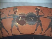 Stock Video Footage of Black figure kylix depicts warriors in hand-to-hand combat