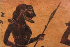 Black figure kantharos depicting the Greek heroes/kings of the Trojan War Stock Footage