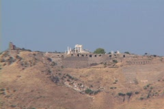 Telephoto zoom out from Temple of Trajan to the Asclepion at Pergamum (modern Stock Footage