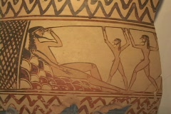 Geometric pottery depicting Odysseus (Ulysses) blinding Polyphemus (Cyclops) Stock Footage