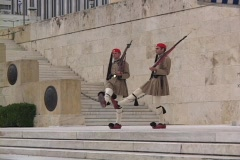 The Evzone Guards at the Parliamentary building in modern Athens, Greece Stock Footage