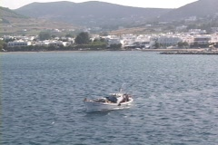 Greek fishing boat underway at Naxos Island, Greece Stock Footage