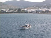 Stock Video Footage of Greek fishing boat underway at Naxos Island, Greece