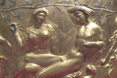 The Derveni Krater depicting Dionysus, satyrs & maenads Stock Footage