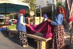 Villagers/farmer's street market in modern Turkey Stock Footage