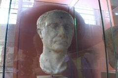 Marble bust of Julius Caesar Stock Footage