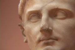 Marble statue of Augustus Caesar (Octavian) - stock footage