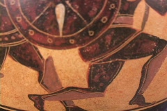 Black figure amphora depicting armored warriors in hand-to-hand combat (replica) Stock Footage