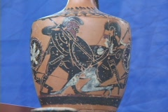 Black figure amphora depicting Achilles in battle against the Amazon warrior Stock Footage