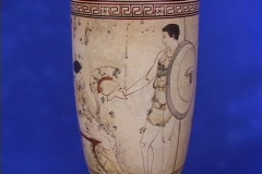White ground lekythos (burial pottery) depicting a soldier handing woman Stock Footage