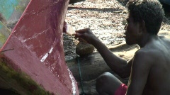 Moken Boat Painting 2 Stock Footage