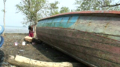 Moken Boat Painting 5 Stock Footage