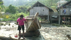 Moken Boat Repairs 5 Stock Footage