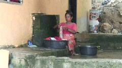 Moken Woman Hand Washing 1 Stock Footage
