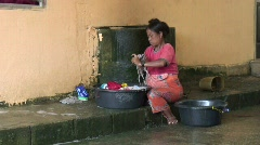 Moken Woman Hand Washing 2 Stock Footage