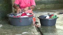 Moken Woman Hand Washing 4 Stock Footage