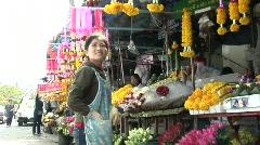 Slow Motion Flower Market Stock Footage