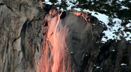 Stock Video Footage of Horsertail Falls, Yosemit's Natural Firefall