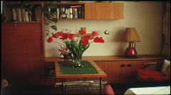 German living room in the 1960s (vintage 8 mm amateur film) Stock Footage