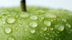 Green apple with dew 2 Stock Footage