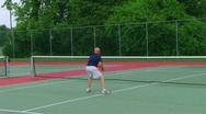 Tennis Player Overhead Smash Stock Footage