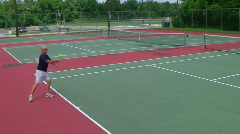 Tennis Player Volleys Stock Footage