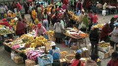 Busy Fruit Market, Zumbahua, Ecuador Stock Footage