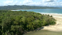 Aerial of mangroves area close to the sandy beach Stock Footage