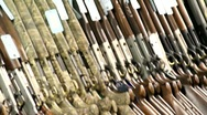 Firearm on display Stock Footage