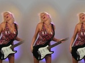 Stock Video Footage of Beautiful Blonde with Electric Guitar - in Triplicate!