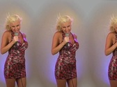Stock Video Footage of Beautiful Blonde Singing - In Triplicate!