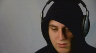 Stock Video Footage of Young man with headphones