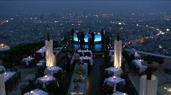 View over open air-bar,  Bangkok Thailand, Asia Stock Footage