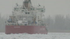 Coast Guard ice breaker Mackinaw snow storm 6 - stock footage