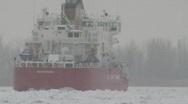 Coast Guard ice breaker Mackinaw snow storm 6 Stock Footage