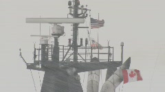 Coast Guard ice breaker Mackinaw snow storm 1 - stock footage