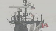 Coast Guard ice breaker Mackinaw snow storm 1 Stock Footage