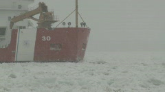 Coast Guard ice breaker Mackinaw snow storm 3 - stock footage