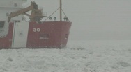 Stock Video Footage of Coast Guard ice breaker Mackinaw snow storm 3