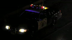 California Highway Patrol Car Night at Accident Scene Stock Footage
