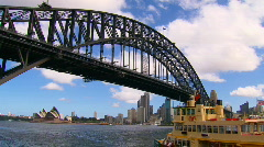 Sydney Australia Harbour Bridge With Ferry & Opera House PT28 Stock Footage