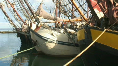 Old sailboats in the harbour of Terschelling Stock Footage